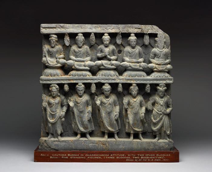 Panel Showing Seated And Standing Buddhas And Bodhisattvas Figure Kushan Gandhara Pakistan The British Museum Images