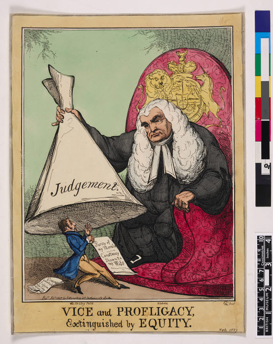 Vice and profligacy, extinguished by equity, satirical print, print   The British Museum Images